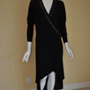 Tarun Tahiliani Dresses - Black Pashmina Overlap Wrap Embroidered Dress L